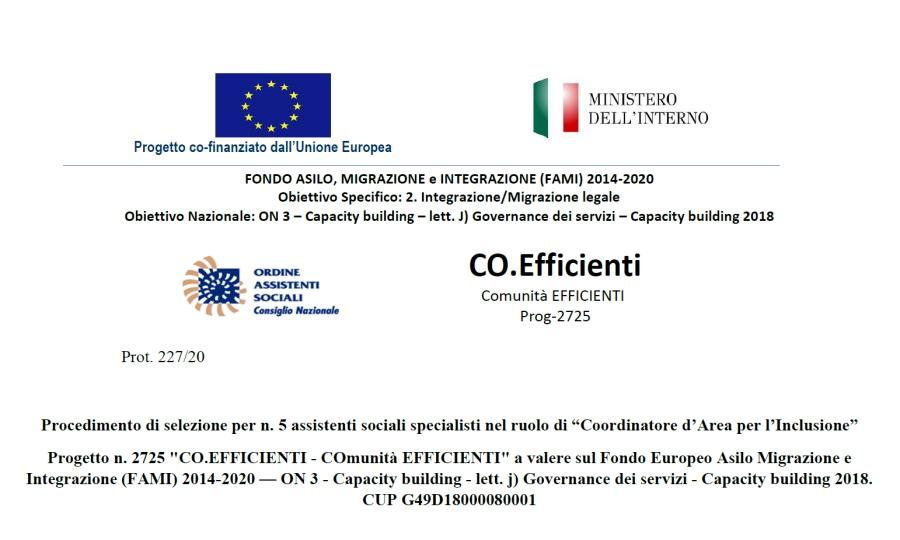 """Progetto Co.Efficienti – Procedimento di selezione per n. 5 assistenti sociali specialisti nel ruolo di """"Coordinatore d'Area per l'Inclusione"""""""