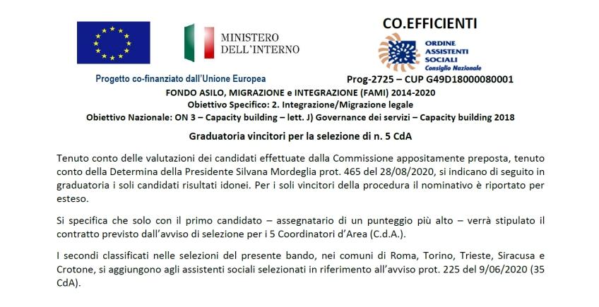 FONDO ASILO, MIGRAZIONE e INTEGRAZIONE (FAMI) 2014-2020 – Graduatoria vincitori di n. 5 CdA – n. 35 Coordinatori d'Area – Progetto Co.Efficienti
