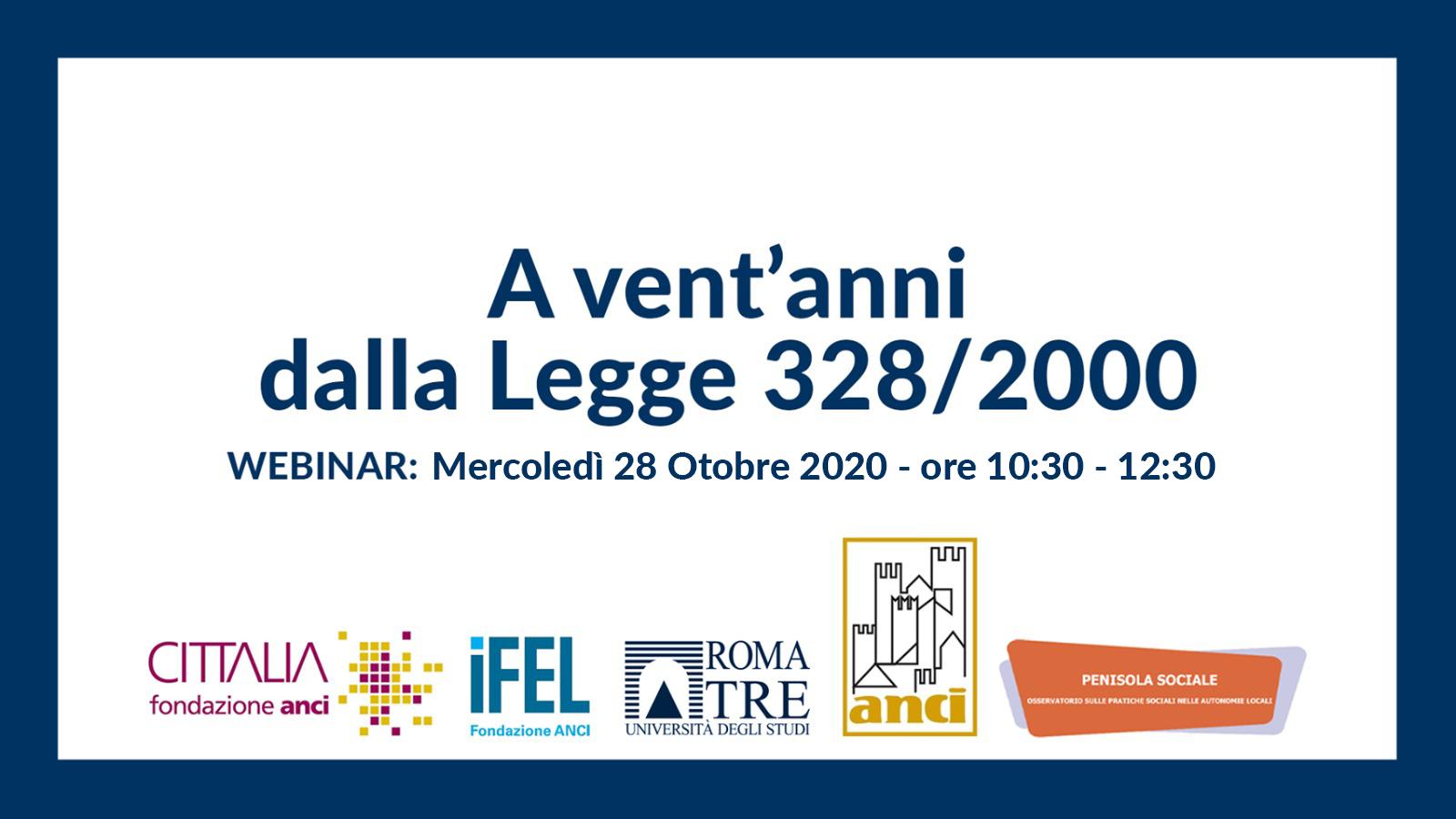 A vent'anni dalla Legge 328/2000 – WEBINAR: Mercoledì 28 ottobre 2020