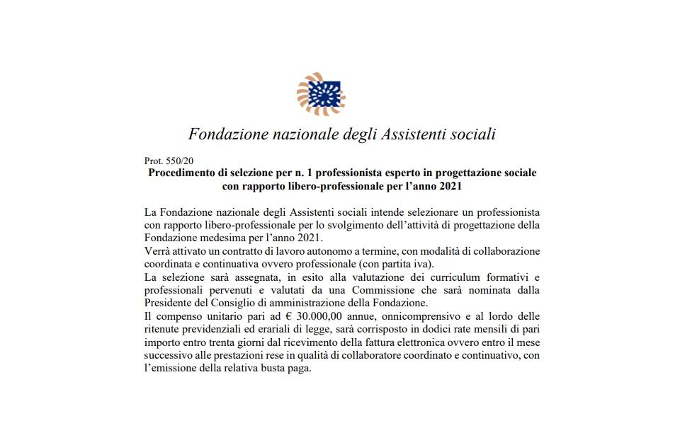 DOMANDA DI PARTECIPAZIONE ALLA SELEZIONE di 1 ESPERTO IN PROGETTAZIONE SOCIALE ANNO 2021
