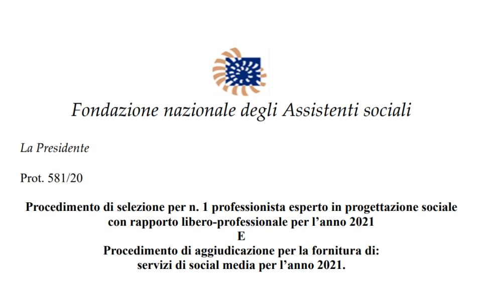 VINCITORI: esperto in progettazione sociale – servizi di social media per l'anno 2021