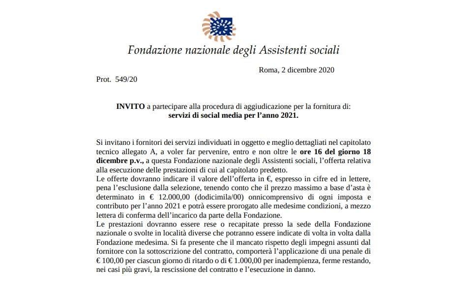 CAPITOLATO TECNICO PER LA FORNITURA DEI SERVIZI DI SOCIAL MEDIA MANAGER PER L'ANNO 2021