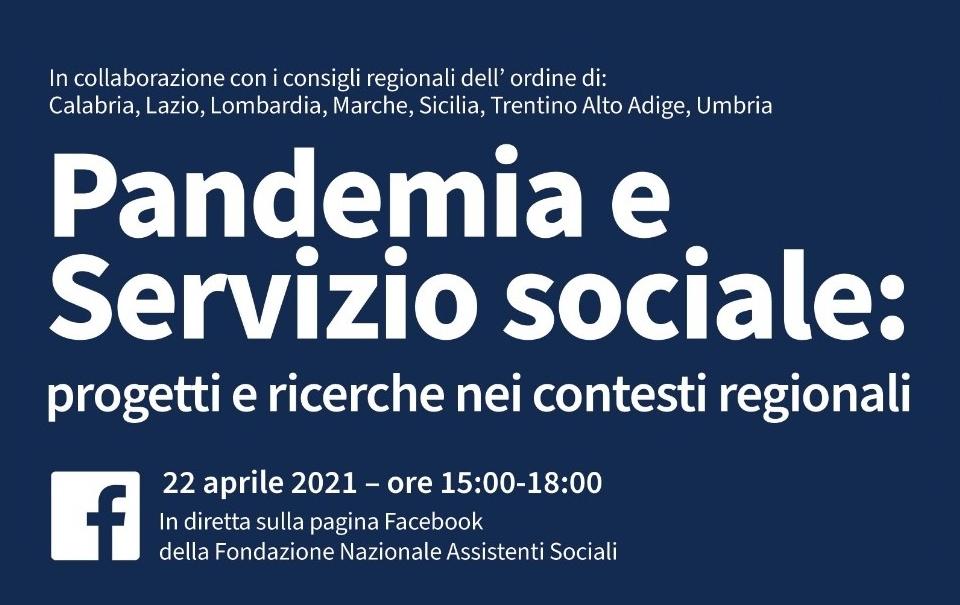 Pandemia e servizio sociale: diretta FB. Protagonisti i CROAS