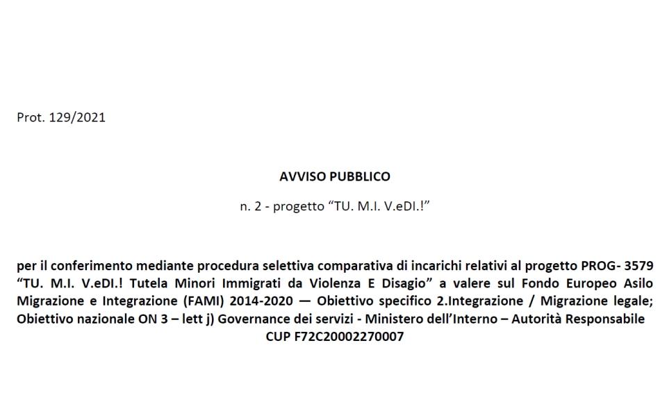 """Progetto PROG- 3579 """"TU. M.I. V.eDI.! Tutela Minori Immigrati da Violenza E Disagio"""